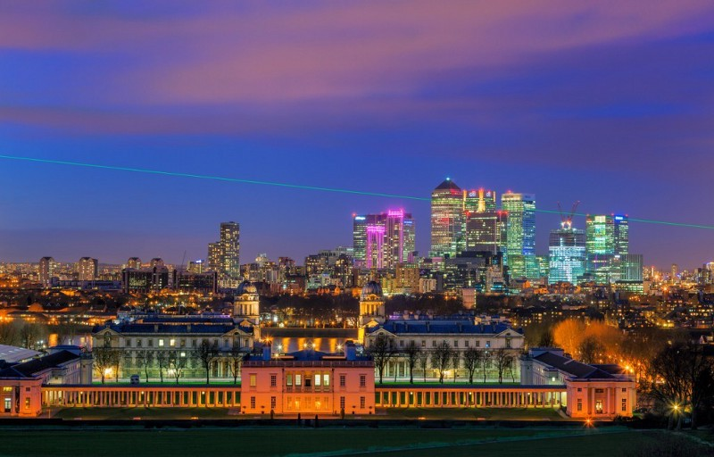 Meridian laser projected across the Naval College at Greenwich