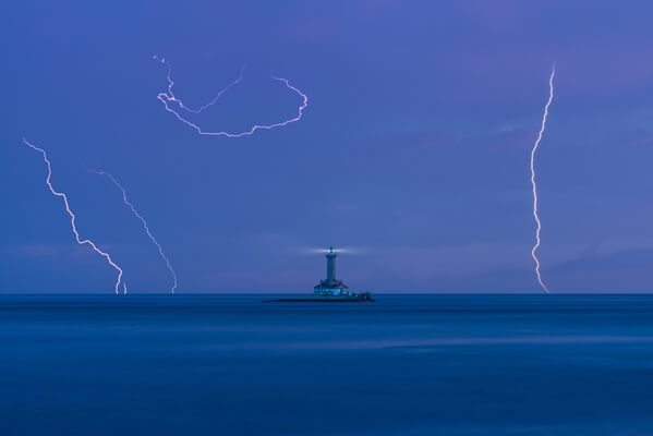 Lightnings at the lighthouse