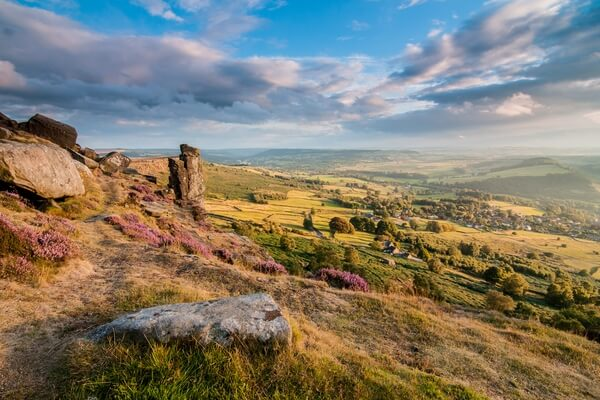 Curbar Edge Heather Sunset