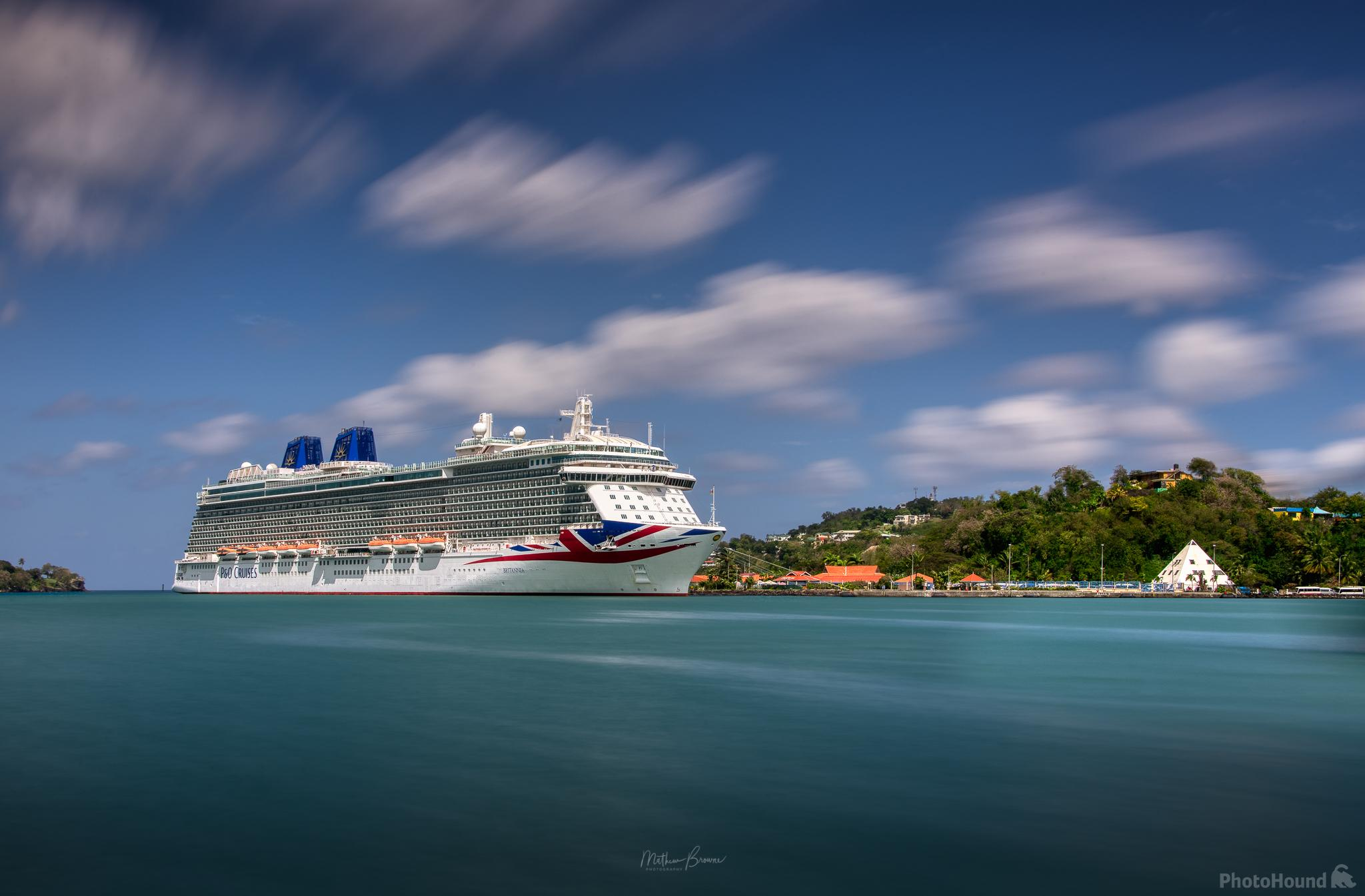 P&O Cruises Britannia, docked in Castries