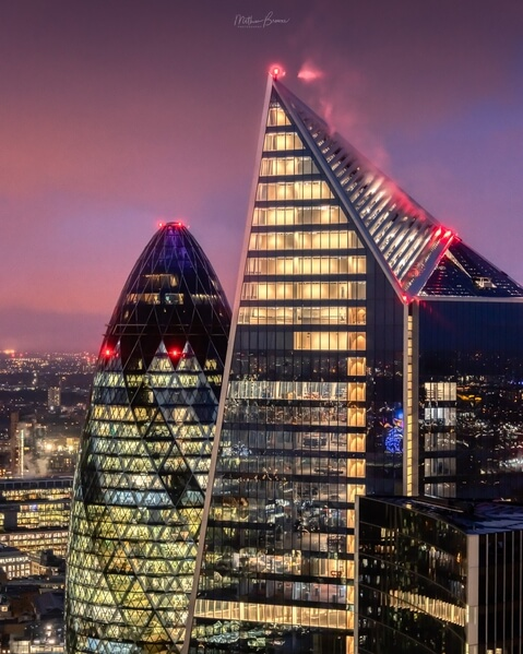 A view facing north of the Gherkin and Scalpel towers