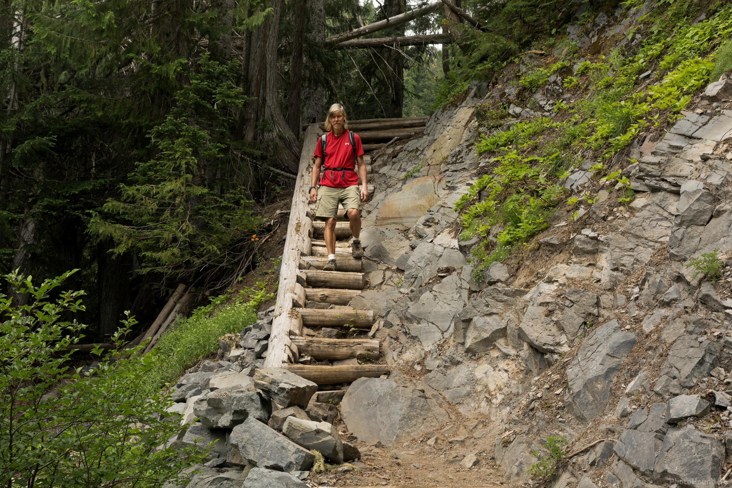 Hiker on trail to Comet Falls