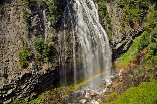 Rainbow at base of Narada Falls