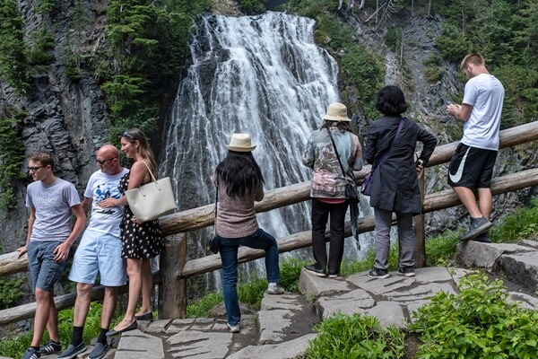 Visitors at Narada Falls Viewing Area