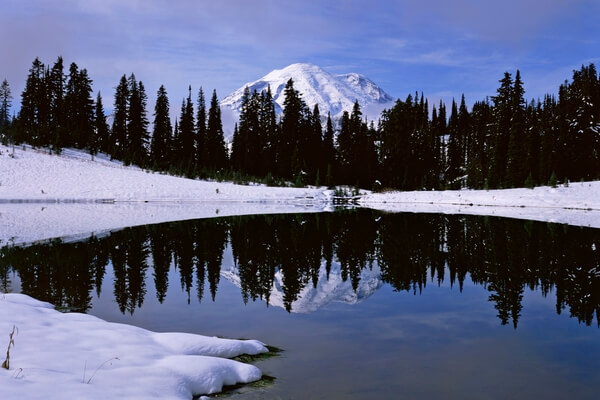 Tipsoo Lake and Mount Rainier after an early winter storm