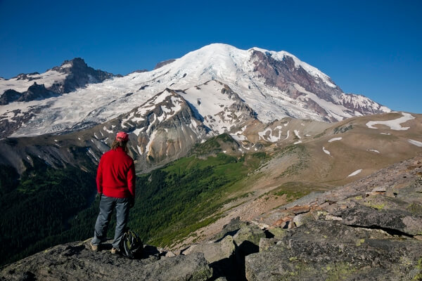 Hiker overlooking Glacier Basin from the Second Burrough