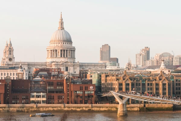 St Paul's & Millennium Bridge from Tate Cafe