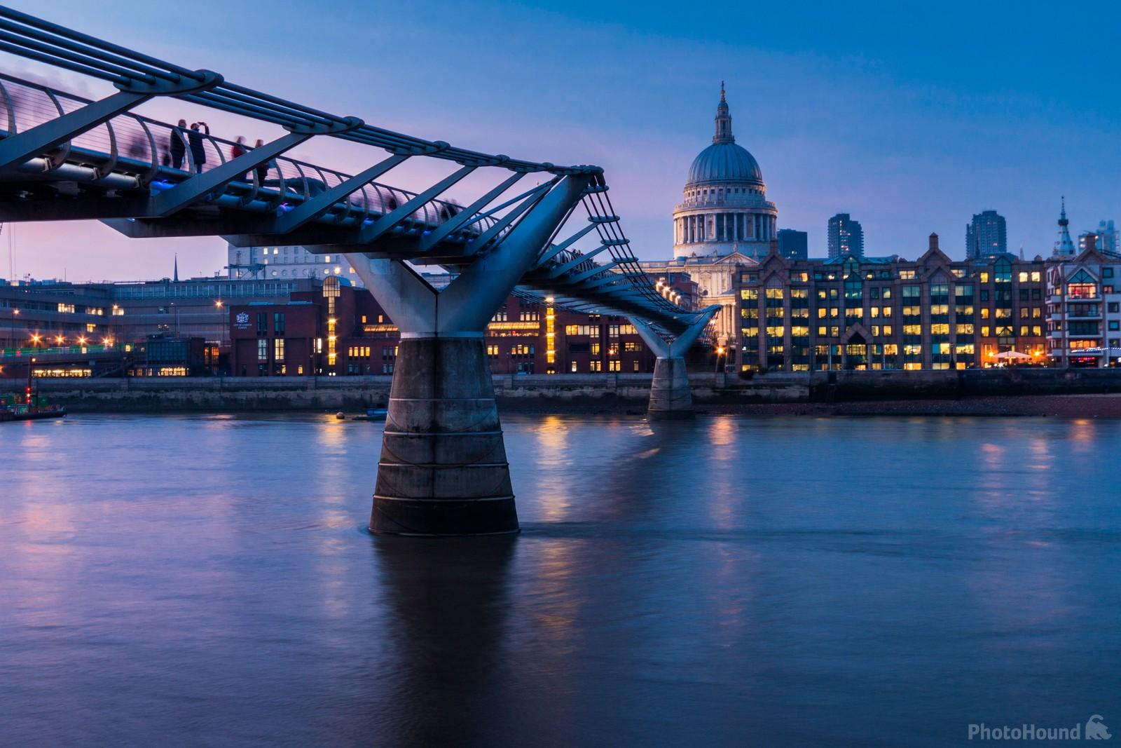 View of St Paul's from Milleniu Bridge at blue hour
