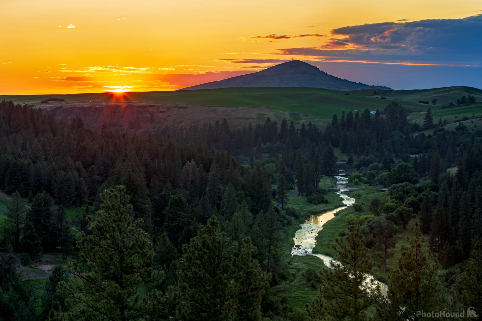 View of sunset by Steptoe Butte in June.