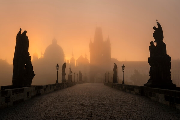 Empty Charles Bridge in the autumn early morning.