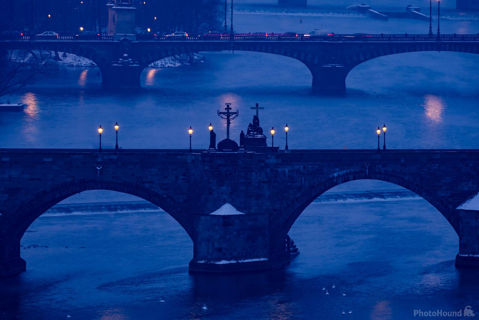Telephoto view of the Charles Bridge from the Hanavsky Pavilon view