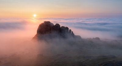 Haytor at sunrise in July with a full regional temperature inversion
