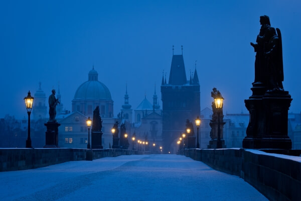 Winter early morning view of Charles Bridge