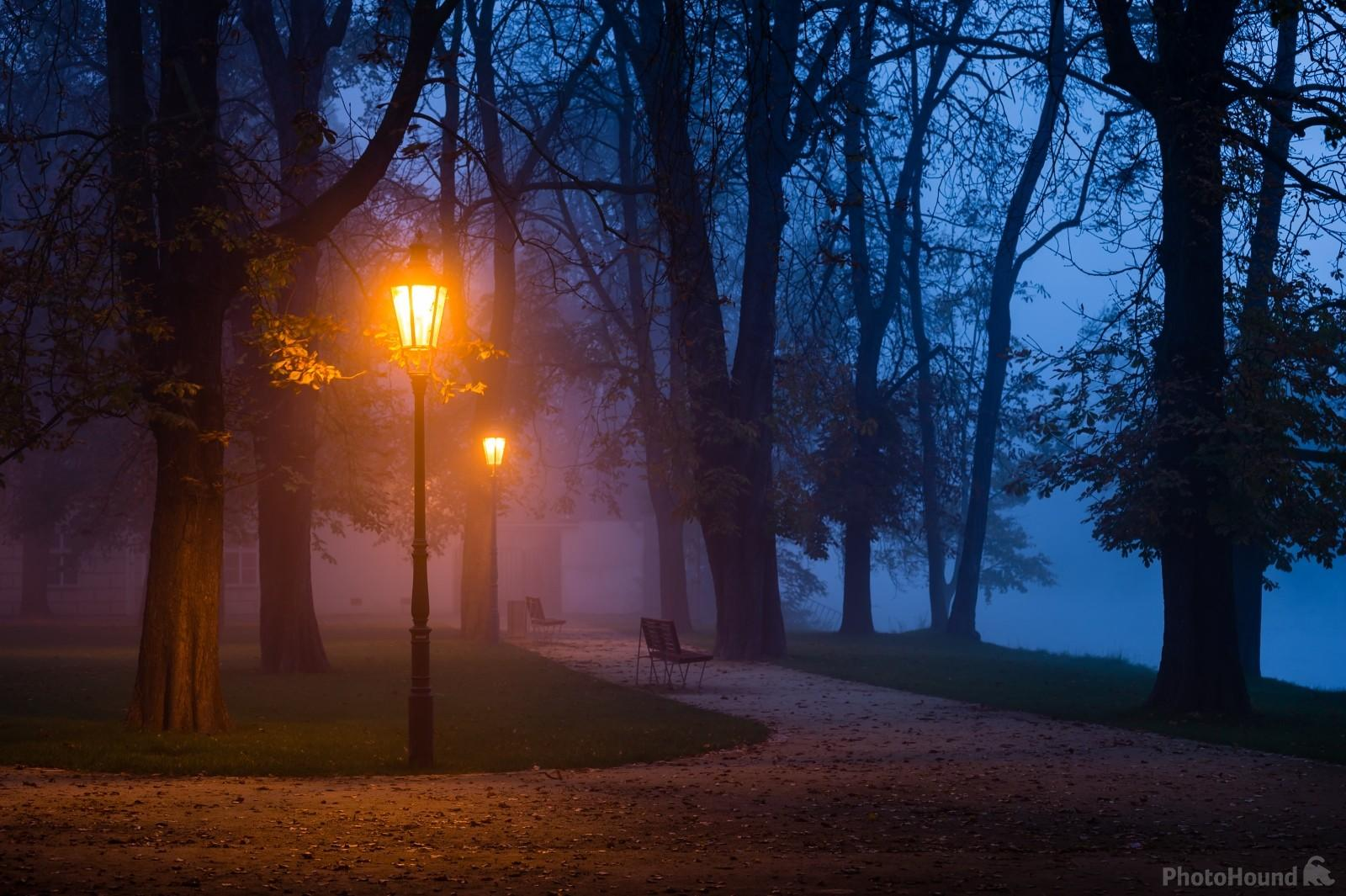 Autumn foggy view of Strelecky ostrov