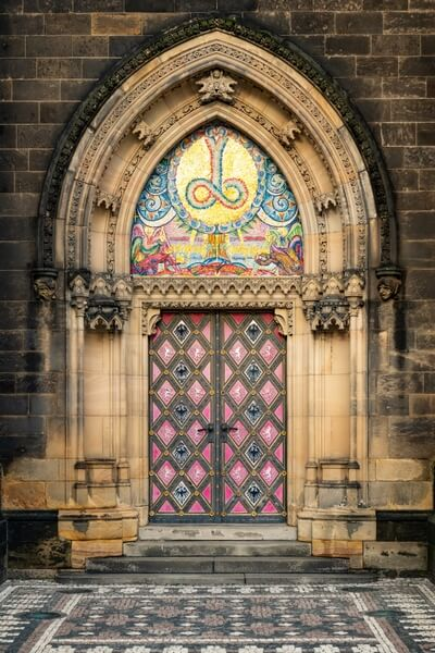 Detail of the door to the basilica of St. Peter and St. Paul in Vysehrad fortress