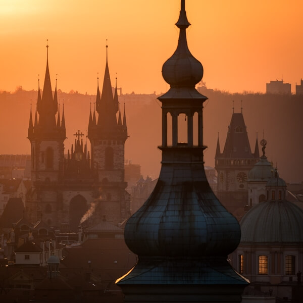 Prague tower during sunrise