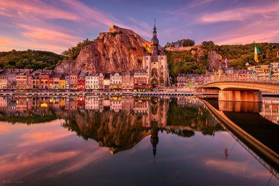 Belgium photography locations - Dinant reflection on the Meuse river at twilight