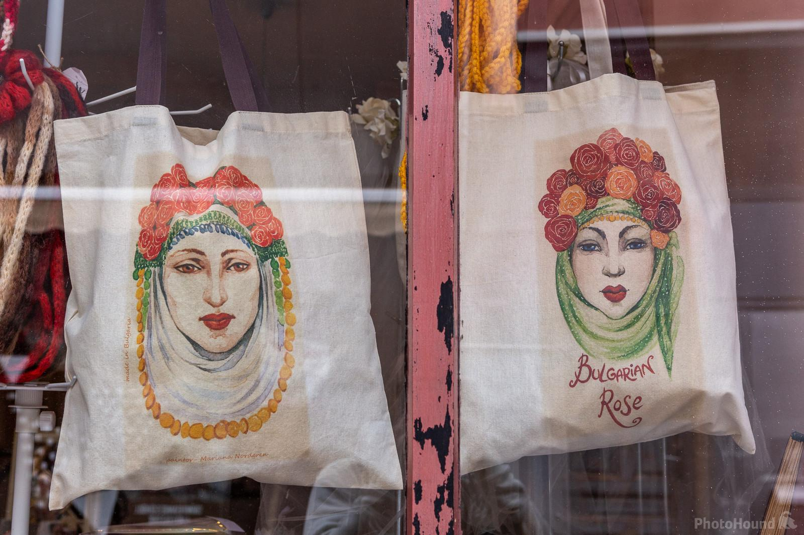 Shop at Kapana district in Plovdiv selling goods with traditional motifs