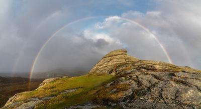 A double rainbow from Lowman's Rock looking north early morning in Winter.