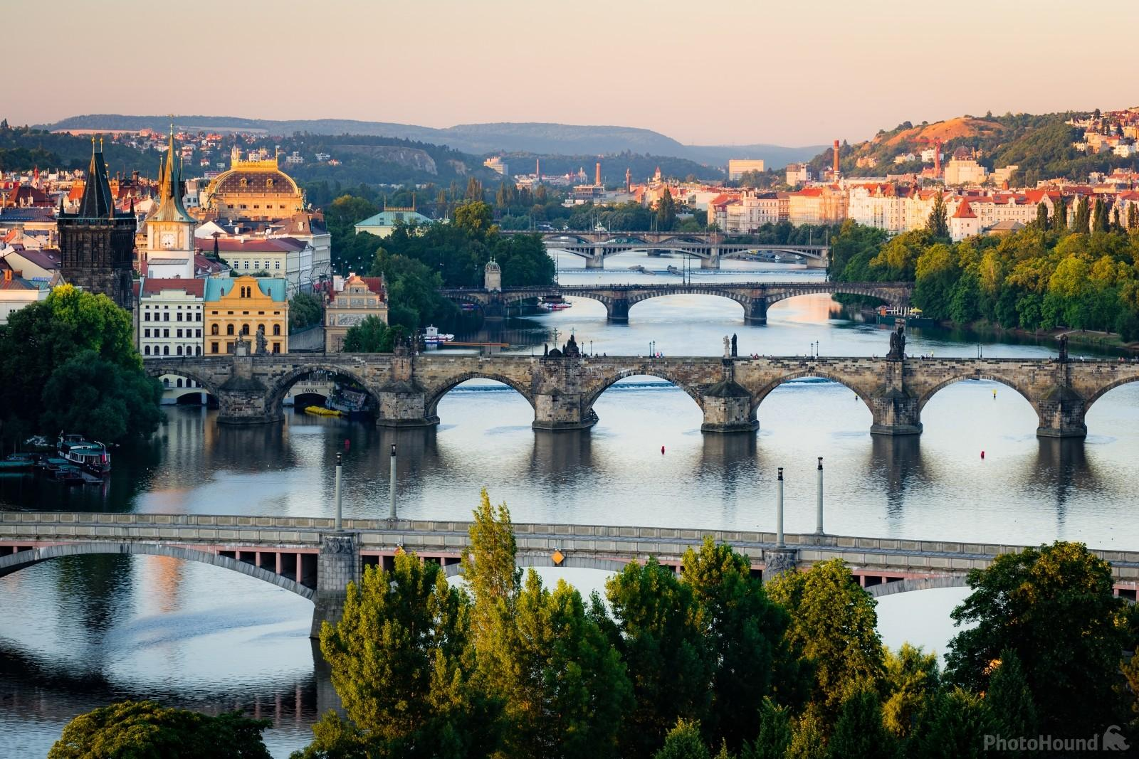 Prague bridges and towers from the view by Hanavský pavilon