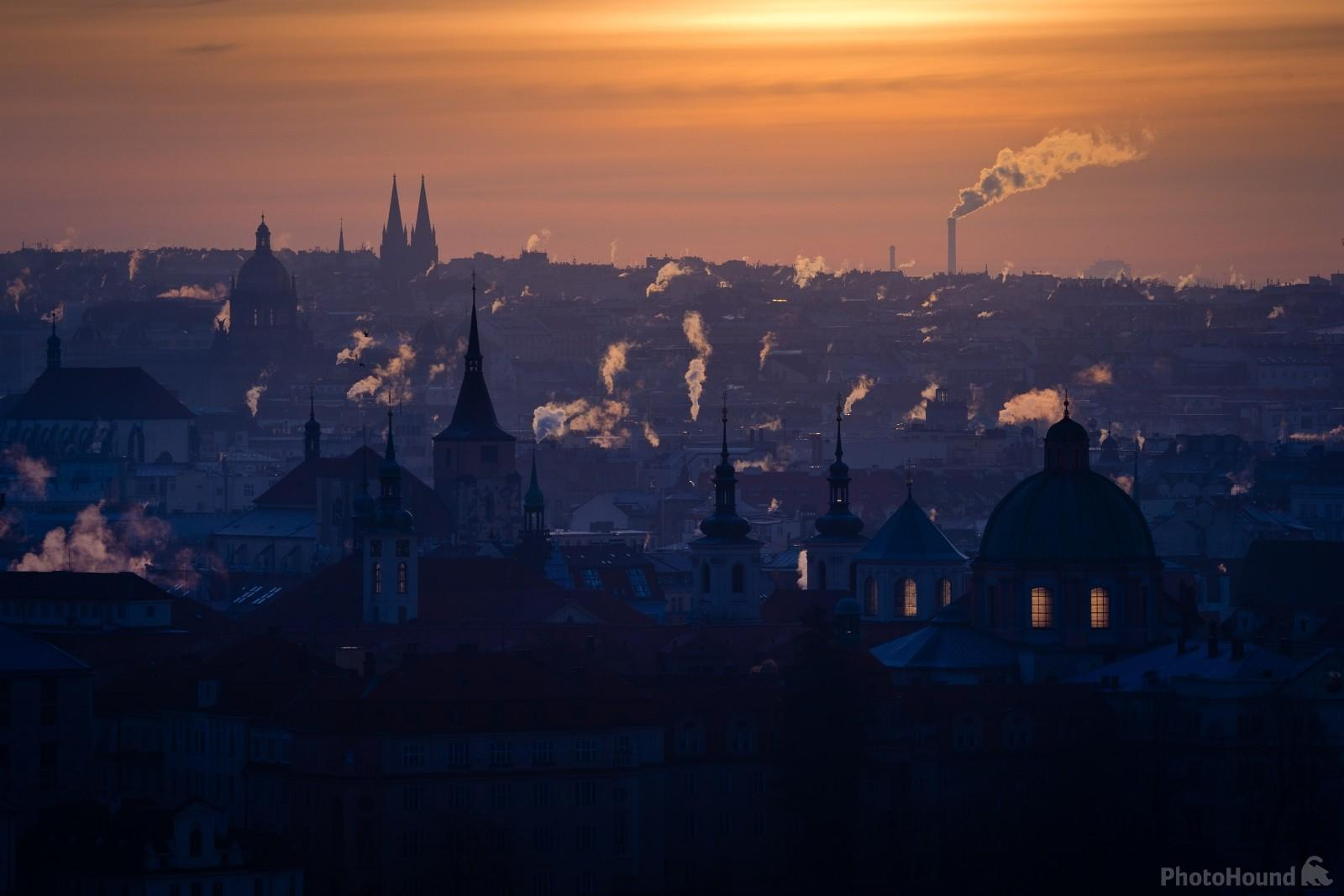 Cold winter morning atmosphere of the Prague as seen from the view by Černá věž (Cerna Tower)