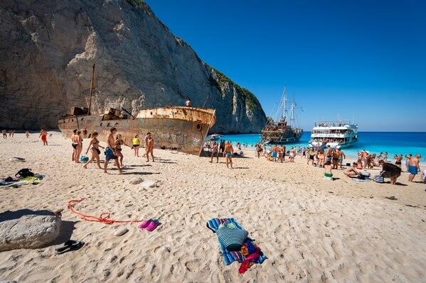 View of the Navagio beach with the shipwreck