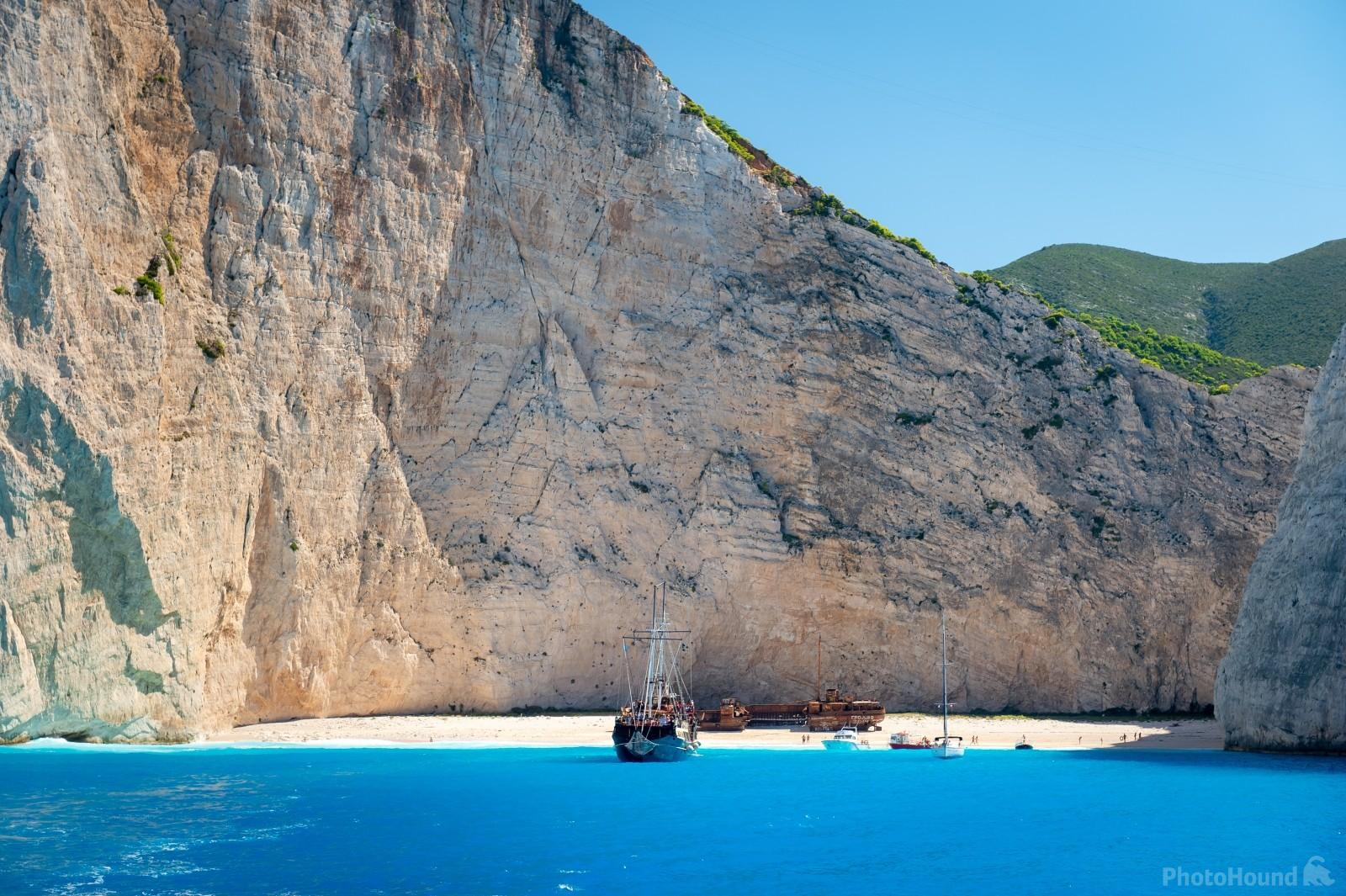 Navagio beach with the shipwreck as seen from the sea