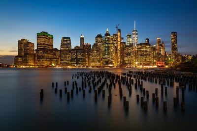 New York photography locations - Old wooden pillars in the East River - Old Pier 1