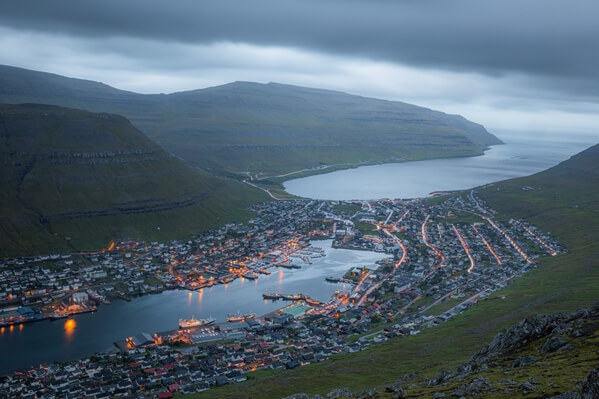 Klaksvik city from the top of Klakkur peak