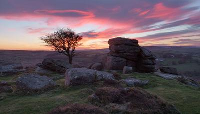 Emsworthy Rocks looking west, sunset, afterglow