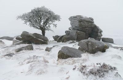 Emsworthy rocks, south looking west, in snow and glaze ice in winter