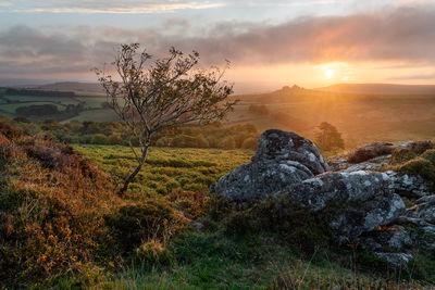 Looking east on an autumn sunrise towards Hound Tor as the fog drifts in.
