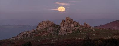 A view to Hound Tor, looking east, during a moonrise (during a mirage)