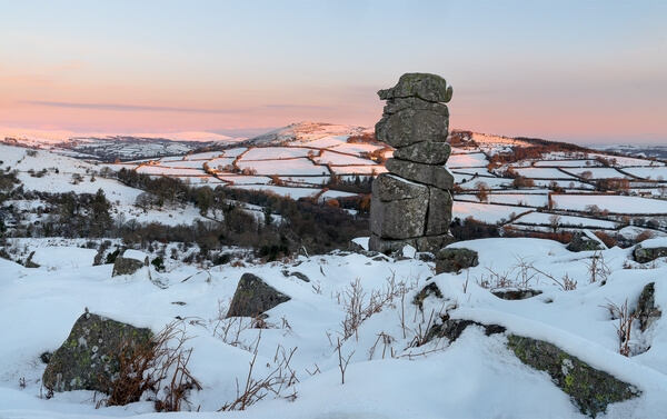 Bowerman's Nose on a winter sunrise in the snow.