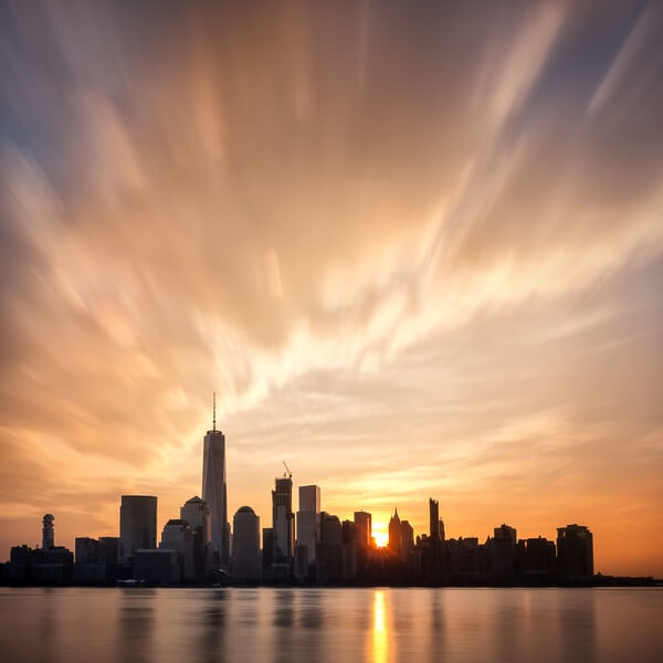Sunrise behind the Lower Manhattan panorama