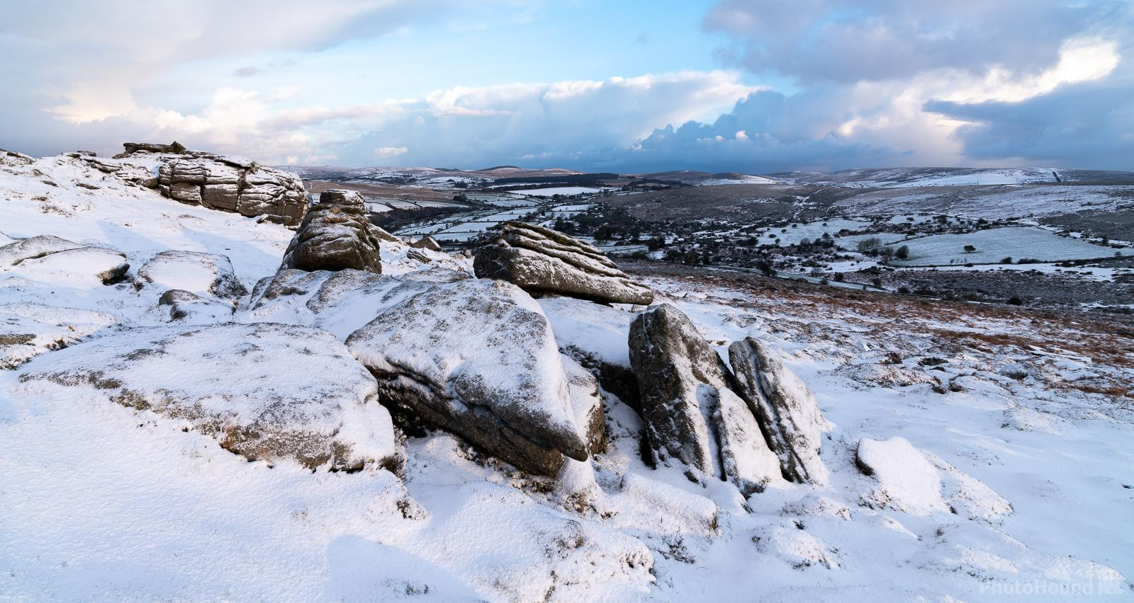 Yar Tor looking northeast on a snowy sunrise in winter.