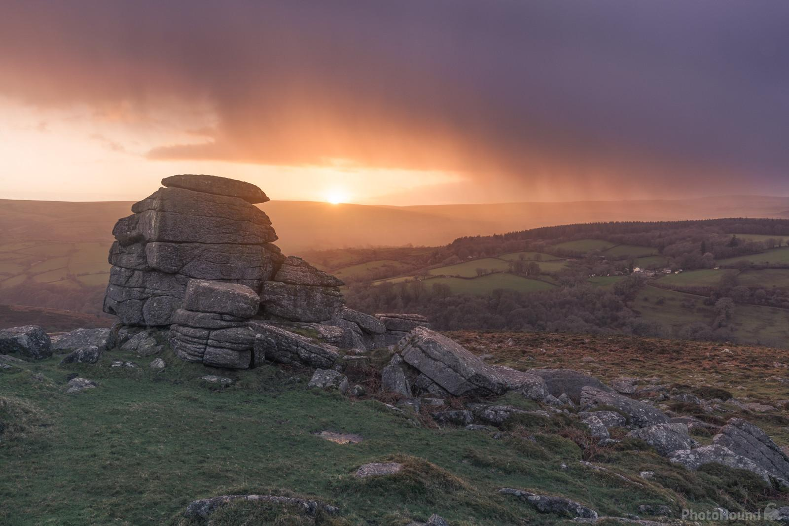 Late autumnal sunset on Yar Tor as a rain storm approaches.