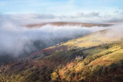 A late autumn inversion in the Dart valley including Rowbrook House looking south west.