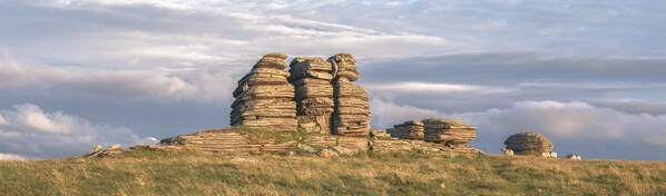 Watern Tor main stack looking east on a summer sunset.