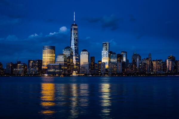 Lower Manhattan from New Jersey, shot after sunset
