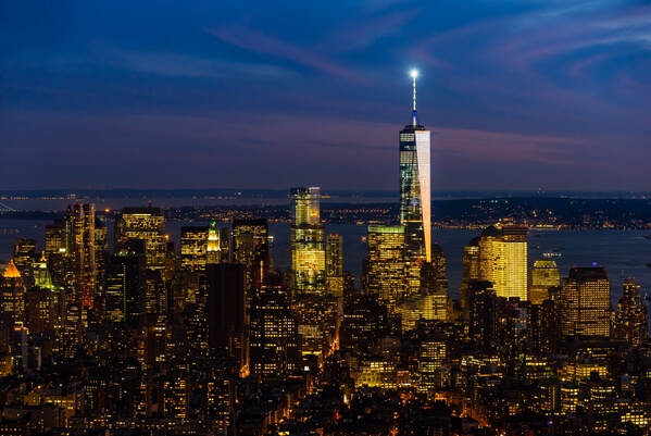 The One WTC Tower as viewed from the Empire STate Building