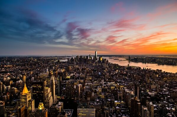 Lower Manhattan from the Empire State Building during sunset