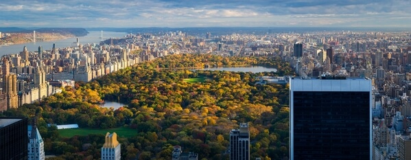 Panoramic shot of the Central Park from the Top of the Rock