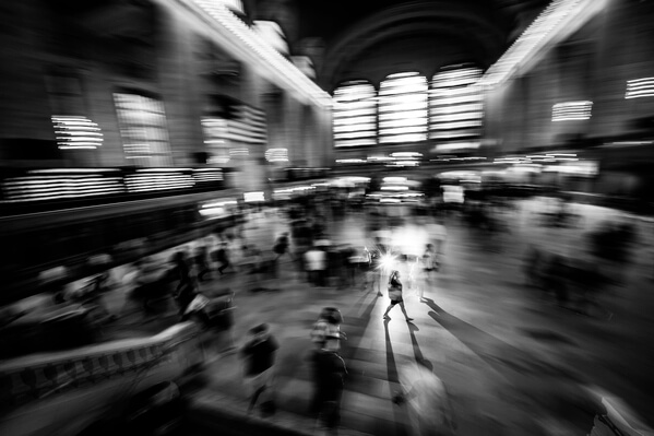 Creative approach at the Grand Central Terminal - wideangle lens and flash used with longer exposure