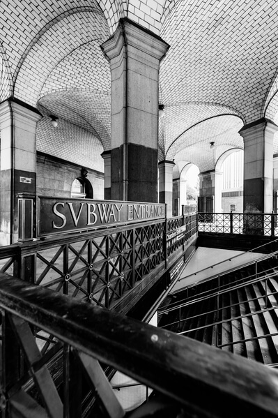 Brooklyn Bridge City Hall Station street entrance captured with the wideangle lens