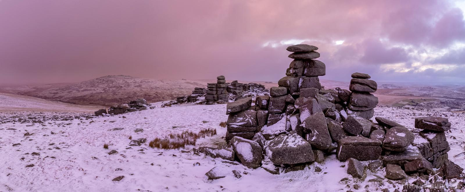 A winter sunrise in the snow looking east from the westerly stack.