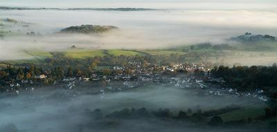 A view to Chagford on a misty autumn morning.