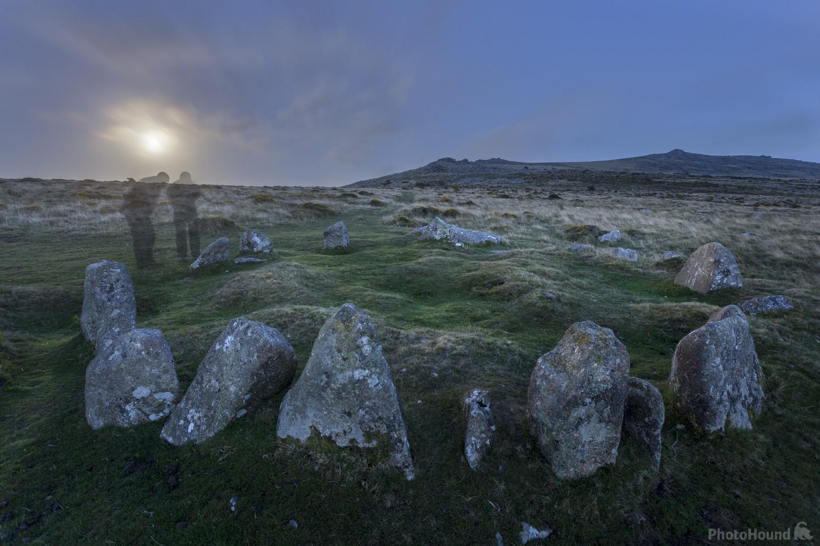 Nine Maidens at moon rise in the summer looking east.