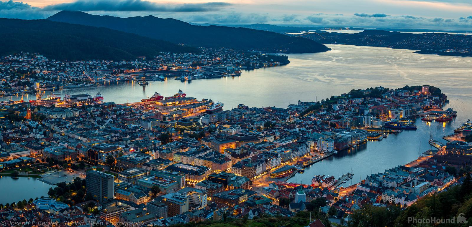 Three image panorama of central Bergen and the waterfront.