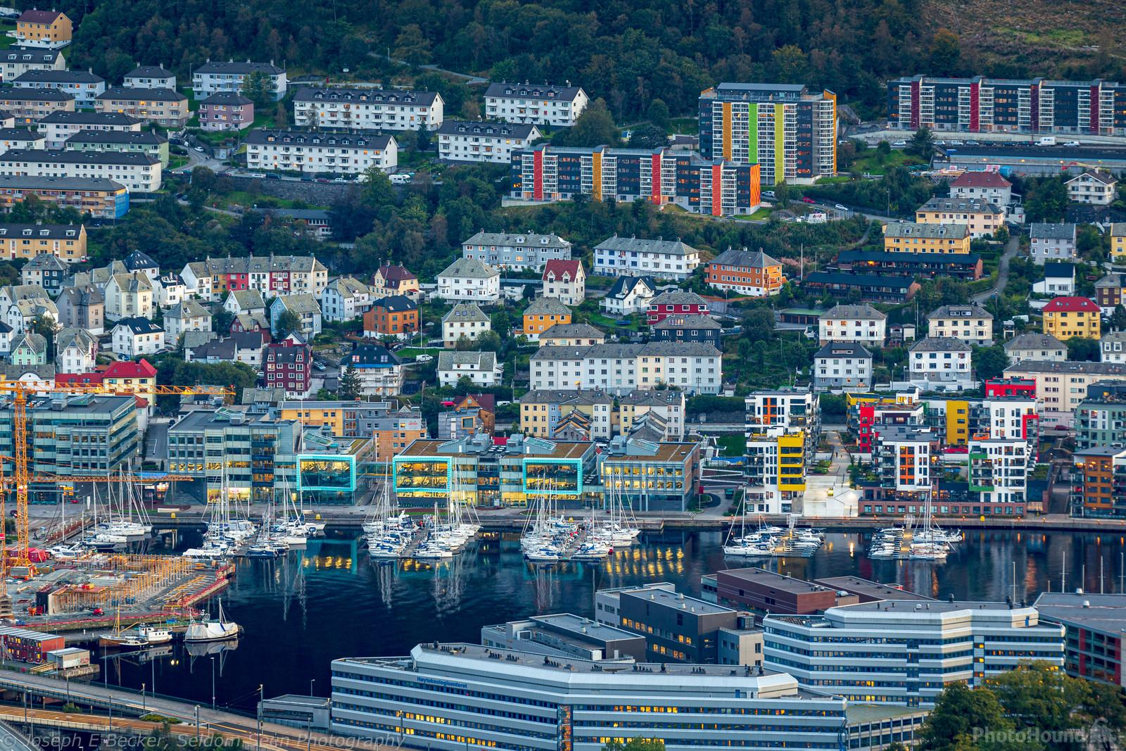 Telephoto shot of a neighborhood south of downtown Bergen.